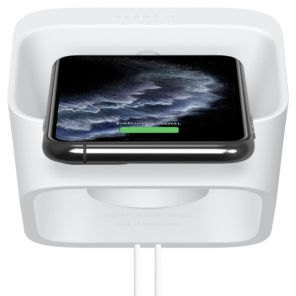 Apple 2-in-1 Stand S316 in white showing the top/back with iPhone charging