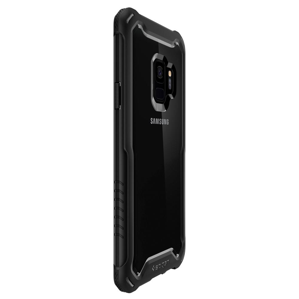 Hybrid 360	Black	Case	showing the back design on the	Galaxy S9	device.