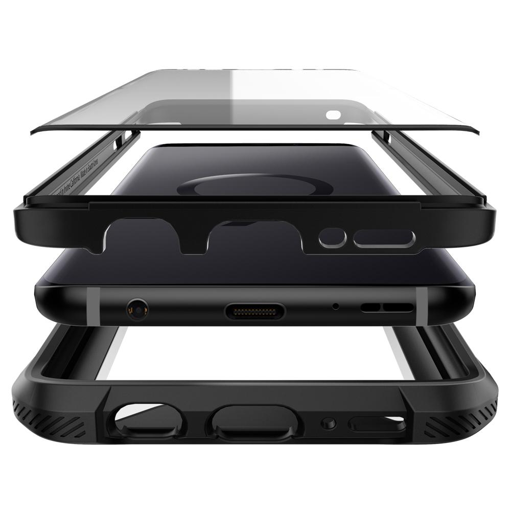 Hybrid 360	Black	Case	separated showing the outer PC layer, the inner TPU layer, screen protector and the	Galaxy S9	device.