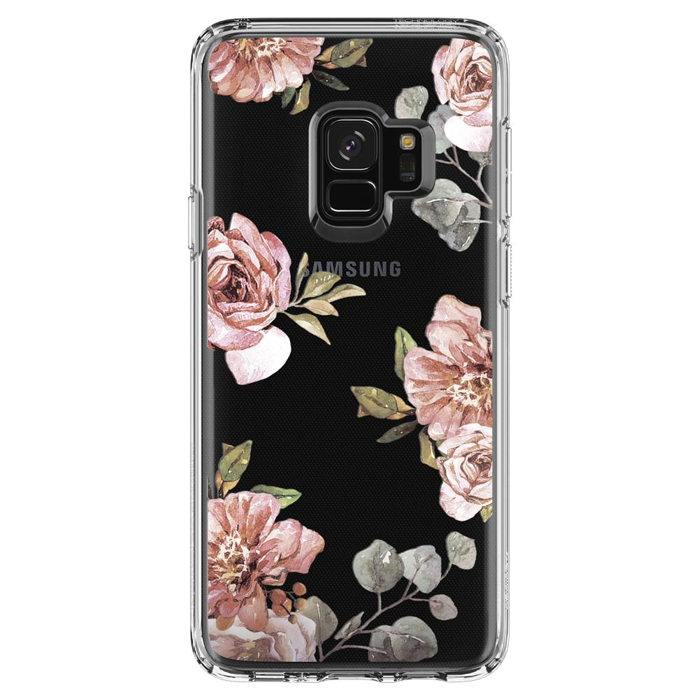 Liquid Crystal Blossom	Flower	Case	facing backwards showing the back design with the camera cutout on the	Galaxy S9	device.