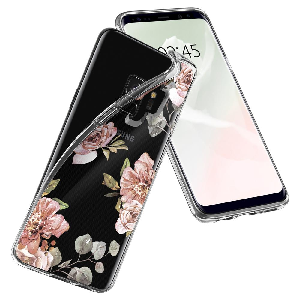 Liquid Crystal Blossom	Flower	Case	back design overlapping the front view of the	Galaxy S9	device.