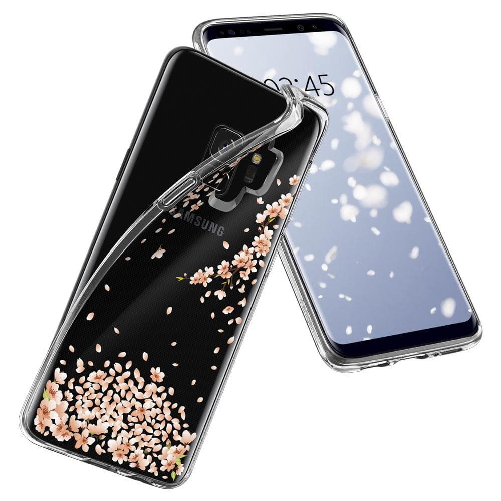 Liquid Crystal Blossom	Crystal Clear	Case	back design overlapping the front view of the	Galaxy S9	device.