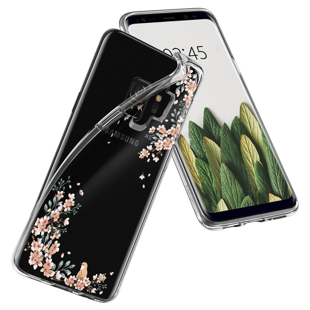 Liquid Crystal Blossom	Nature	Case	back design overlapping the front view of the	Galaxy S9	device.