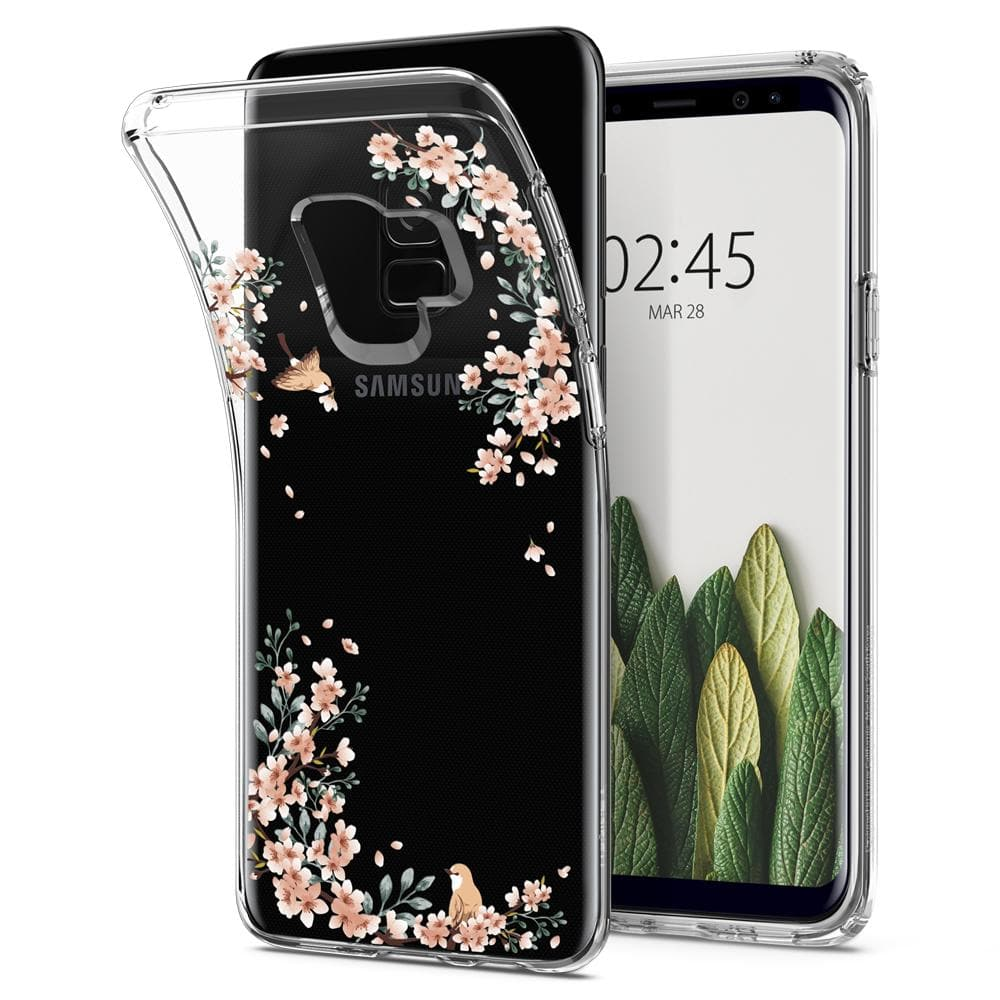 Liquid Crystal Blossom	Nature	Case	back design and a front view of the edge around the	Galaxy S9	device.
