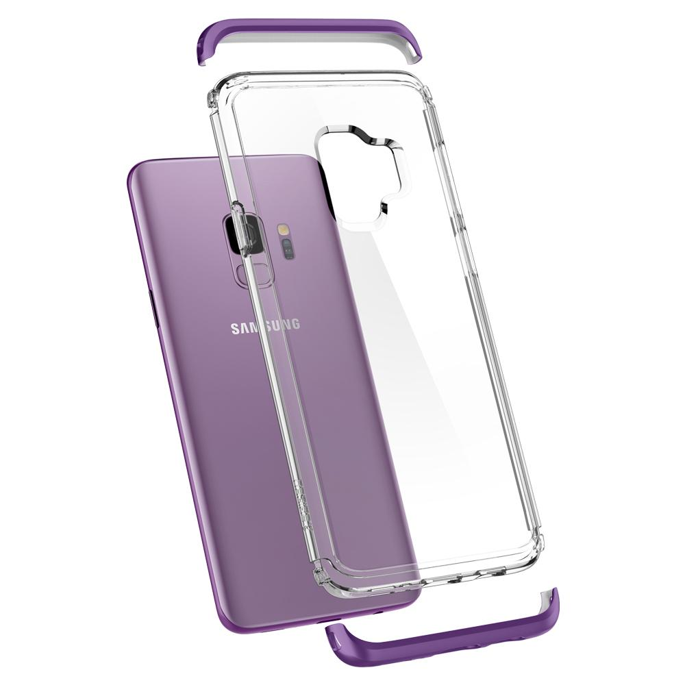 Neo Hybrid NC	Lilac Purple	Case	separated showing the outer PC layer, the inner TPU layer, and the	Galaxy S9	device.