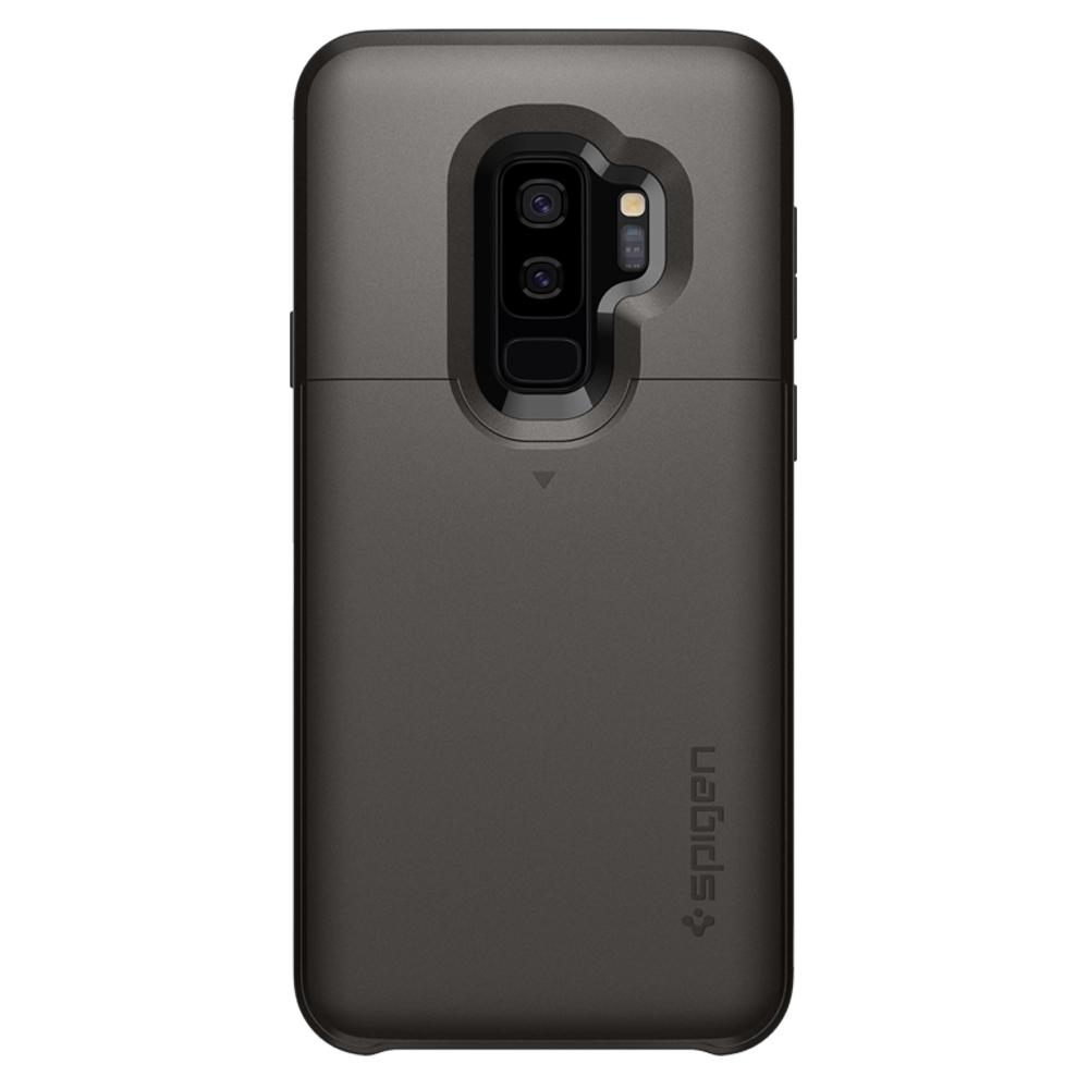 Slim Armor CS	Gunmetal	Case	facing backwards showing the back design with the camera cutout on the	Galaxy S9+	device.