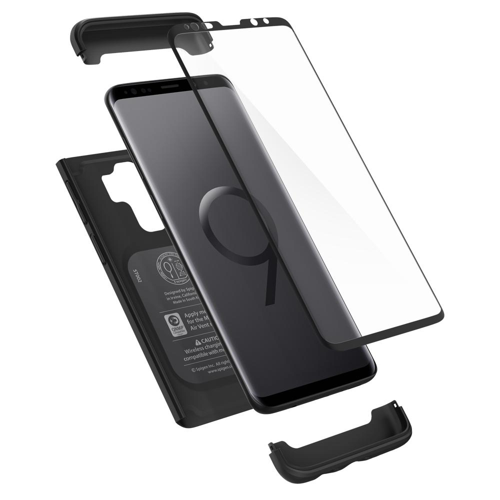 Thin Fit 360	Black	Case	separated showing the outer PC layer, screen protector and the	Galaxy S9+	device.
