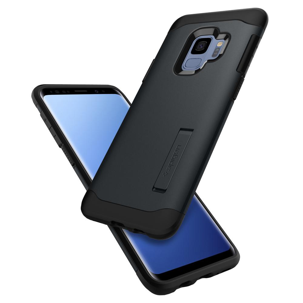 Slim Armor	Metal Slate	Case	back design and a front view of the edge around the	Galaxy S9	device.