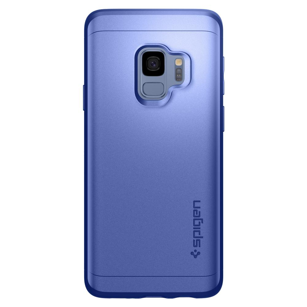 Thin Fit 360	Coral Blue	Case	facing backwards showing the back design with the camera cutout on the	Galaxy S9	device.
