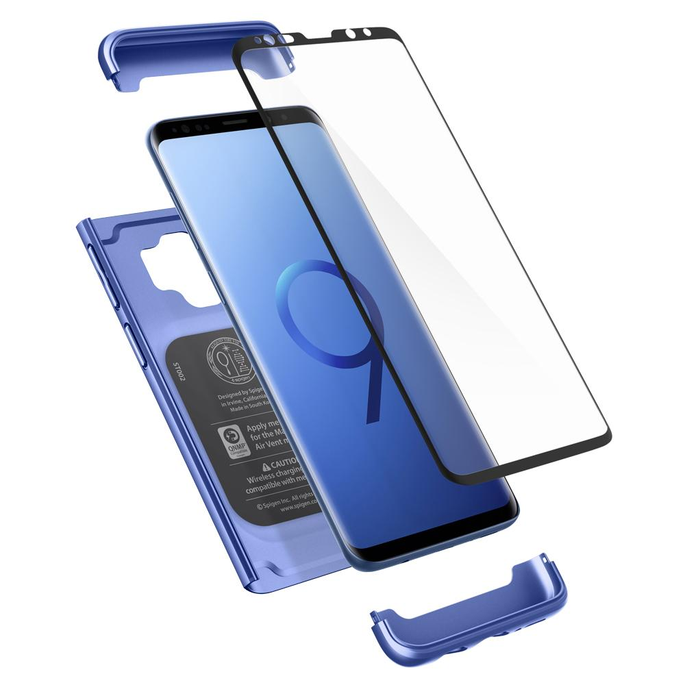 Thin Fit 360	Coral Blue	Case	separated showing the outer PC layer, the screen protector and the	Galaxy S9	device.