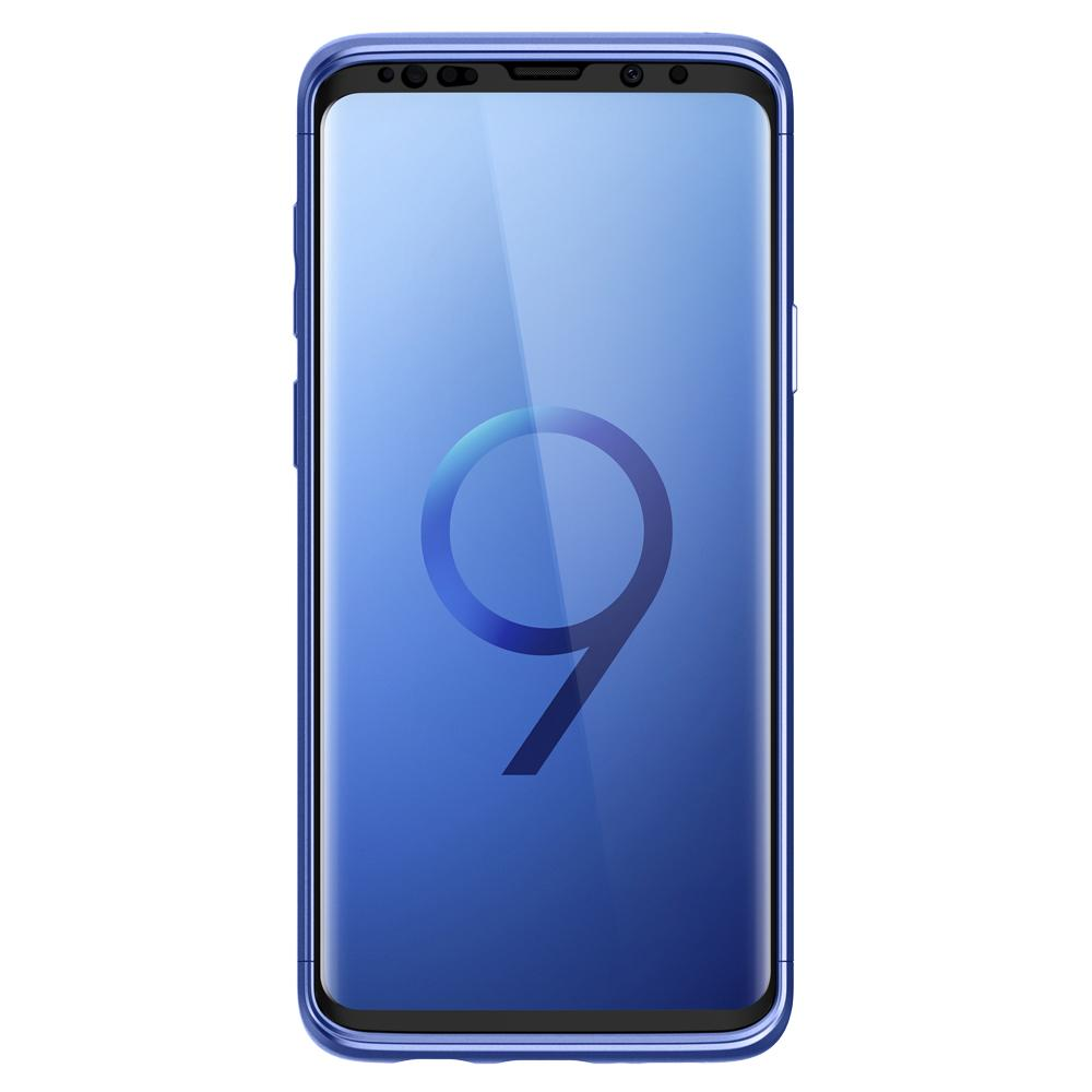 Thin Fit 360	Coral Blue	Case	showing a front facing view of the edges around the	Galaxy S9	device.