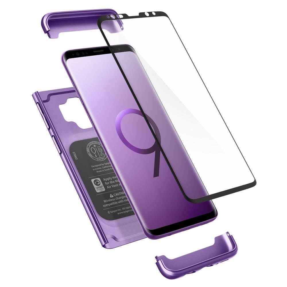 Thin Fit 360	Lilac Purple	Case	separated showing the outer PC layer, the screen protector and the	Galaxy S9	device.