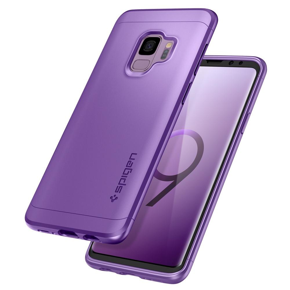 Thin Fit 360	Lilac Purple	Case	back design and a front view of the edge around the	Galaxy S9	device.
