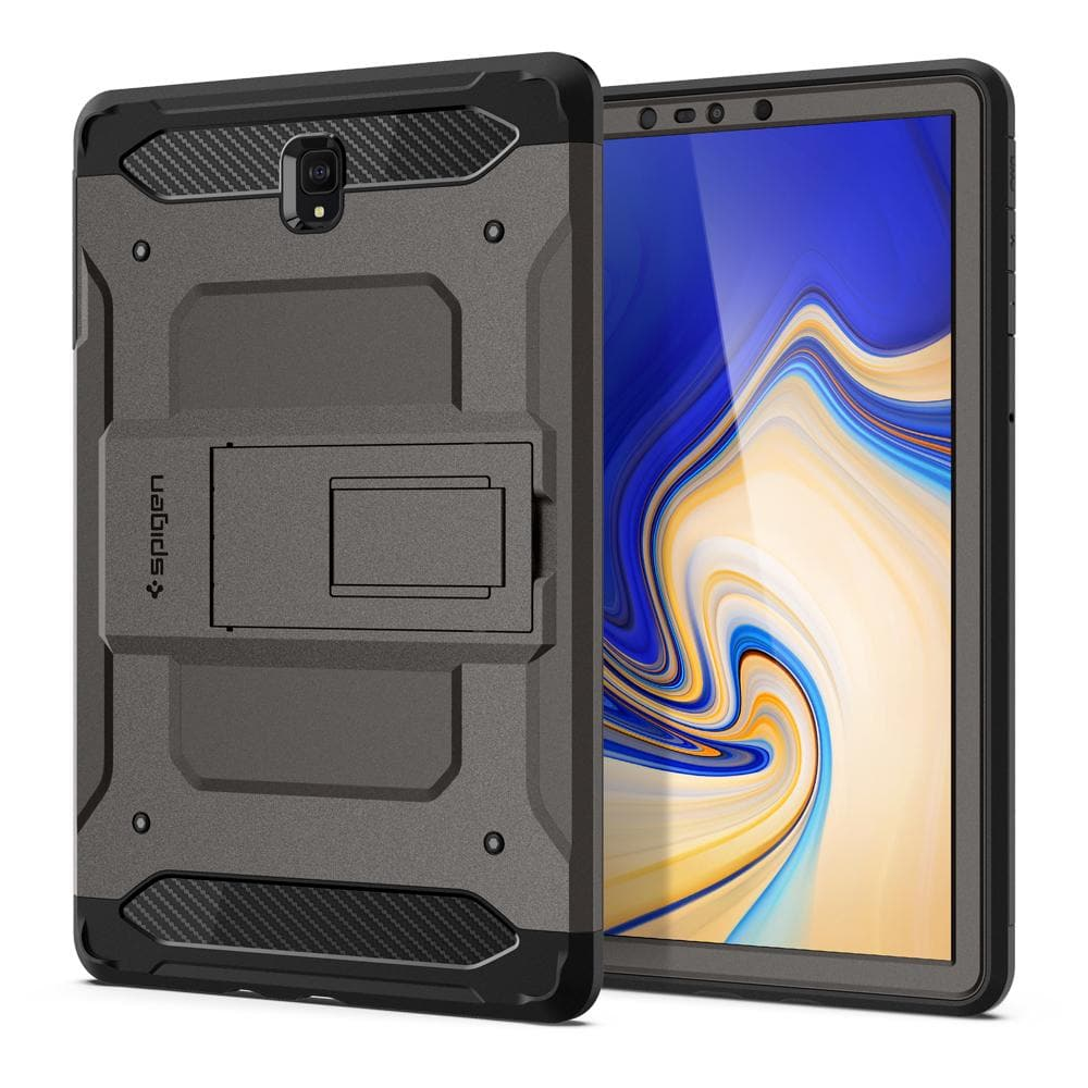 Tough Armor TECH (Glass Screen Protector/Ver.2)	Gunmetal	Case	back design and a front view of the edge around the	Galaxy Tab S4	device.