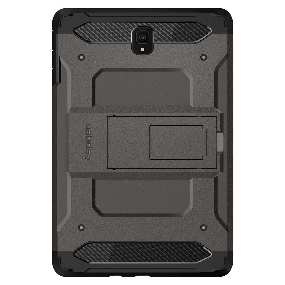 Tough Armor TECH (Glass Screen Protector/Ver.2)	Gunmetal	Case	facing backwards showing the back design with the camera cutout on the	Galaxy Tab S4	device.