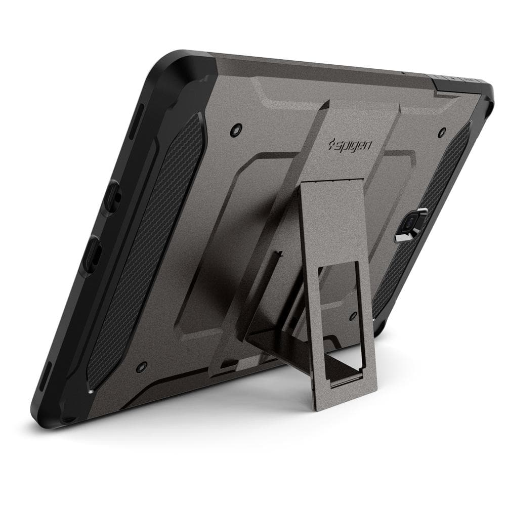 Tough Armor TECH (Glass Screen Protector/Ver.2)	Gunmetal	Case	angled backwards showing the back design focusing on the kickstand feature on the	Galaxy Tab S4	device.