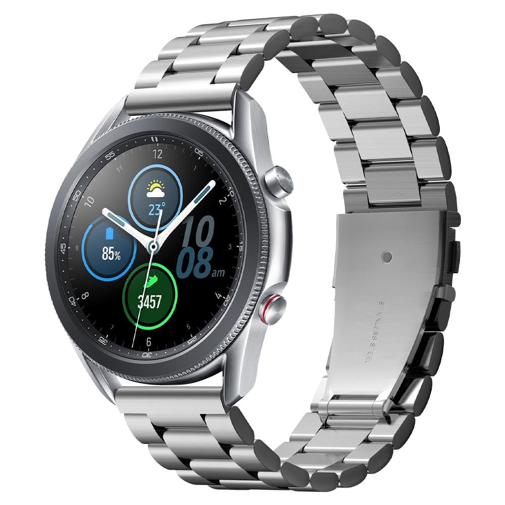 Galaxy Watch 3 (45mm) Watch Band Modern Fit (22mm) in silver showing the front at an angle on watch