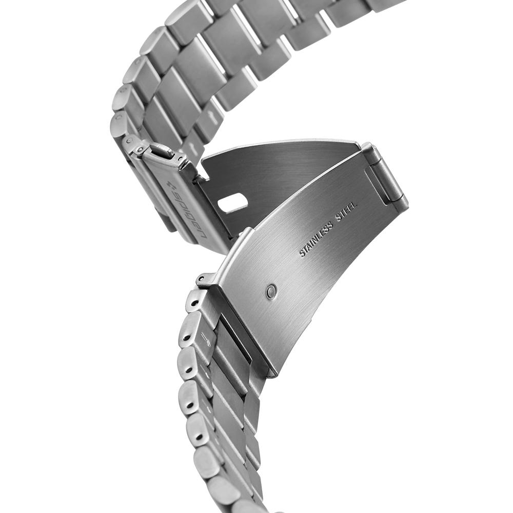 Galaxy Watch 3 (45mm) Watch Band Modern Fit (22mm) in silver showing the band with clasp undone