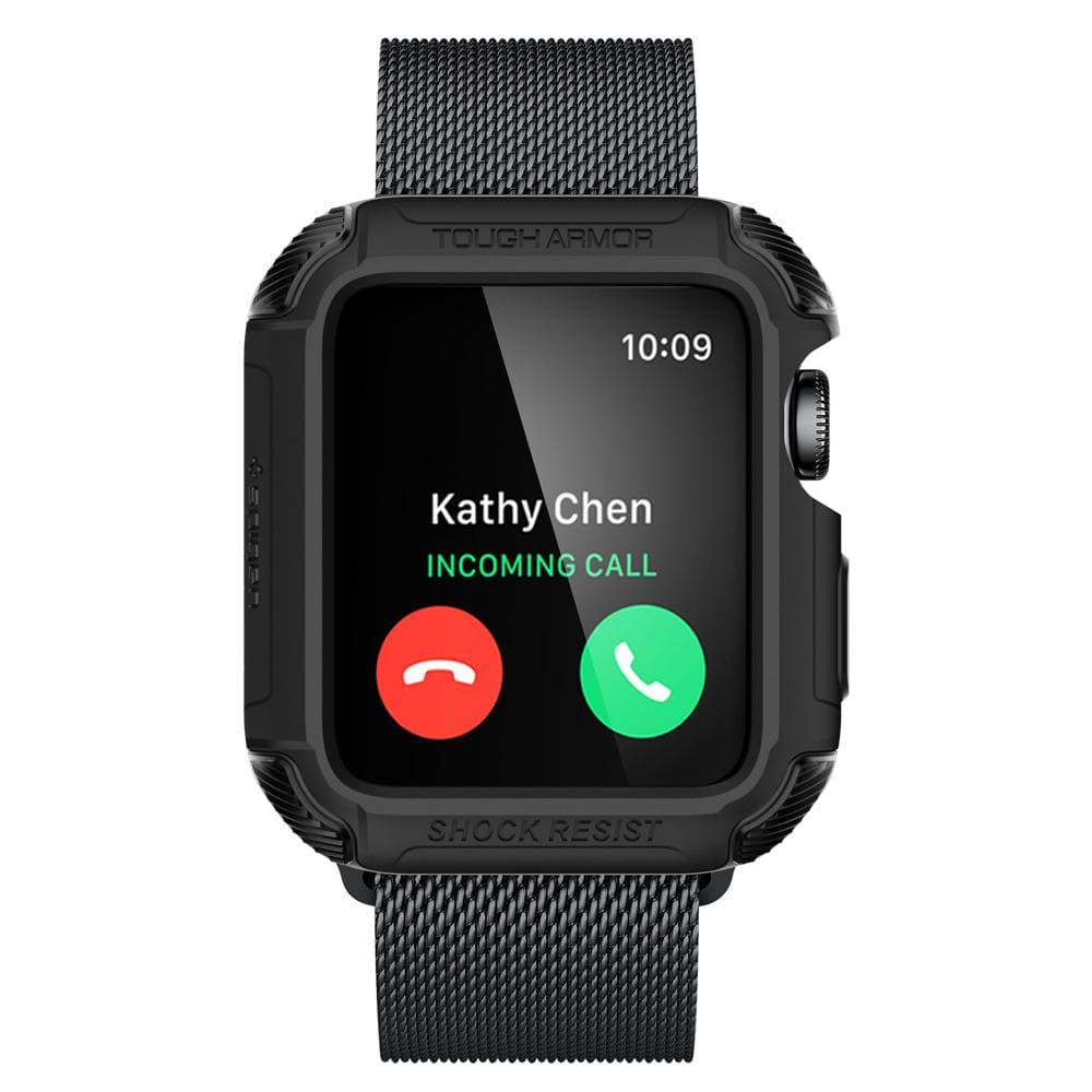 Tough Armor 2	Matte Black	Case	showing a front facing view of the edges around the	Apple Watch Series 3/2 (42mm)	device.