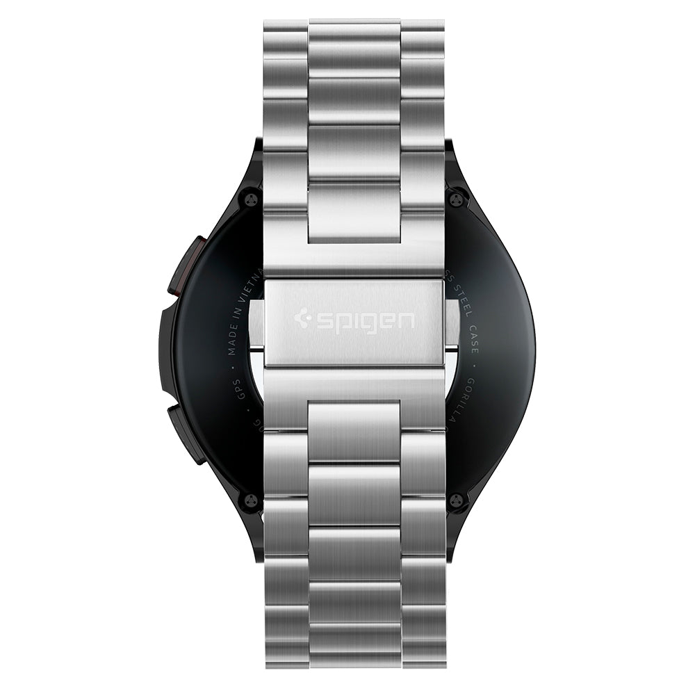 Apple Watch Band Modern Fit	Silver	side view showing the up and down volume buttons.