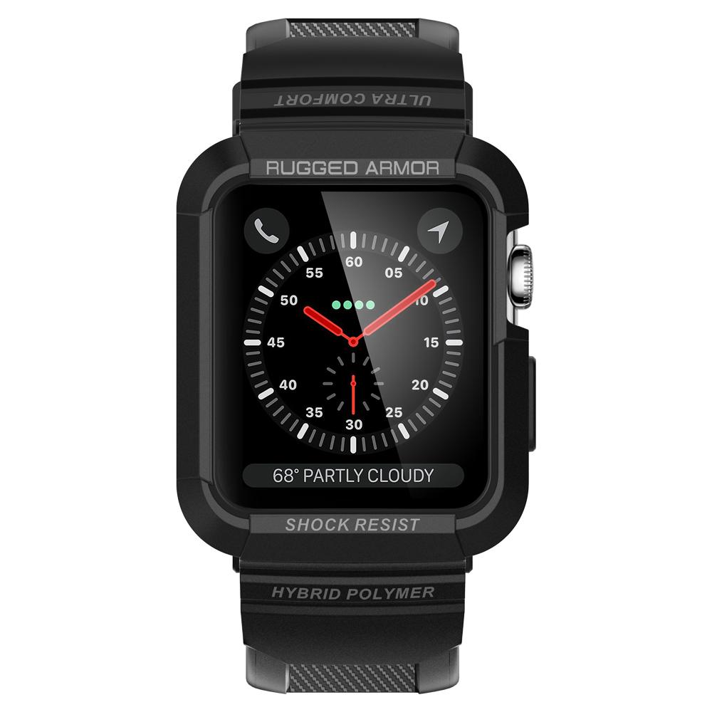 Rugged Armor Pro	Black	Case	showing a front facing view of the edges around the	Apple Watch Series 3/2/1 (42mm)	device.