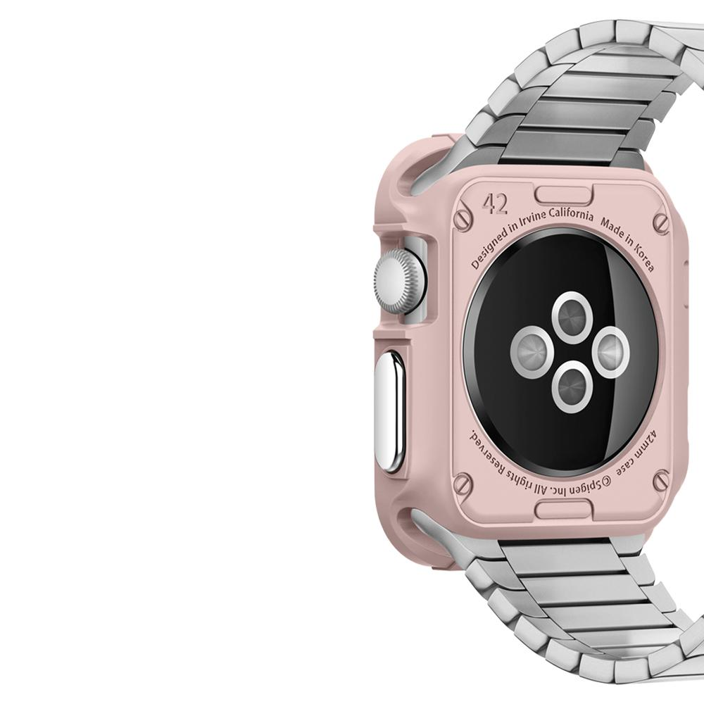 Rugged Armor	Rose Gold	Case	showing the back design on the	Apple Watch Series 3/2/1 (42mm)	device.