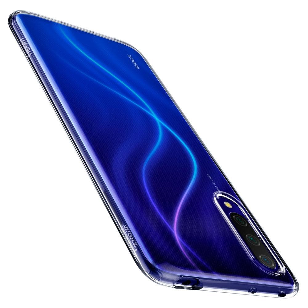 Liquid Crystal	Crystal Clear	Case	showing the back design on the	Mi 9 Lite	device.