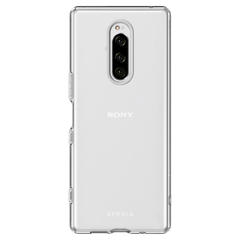 Liquid Crystal	Crystal Clear	Case	facing backwards showing the back design with the camera cutout on the	Xperia 1	device.