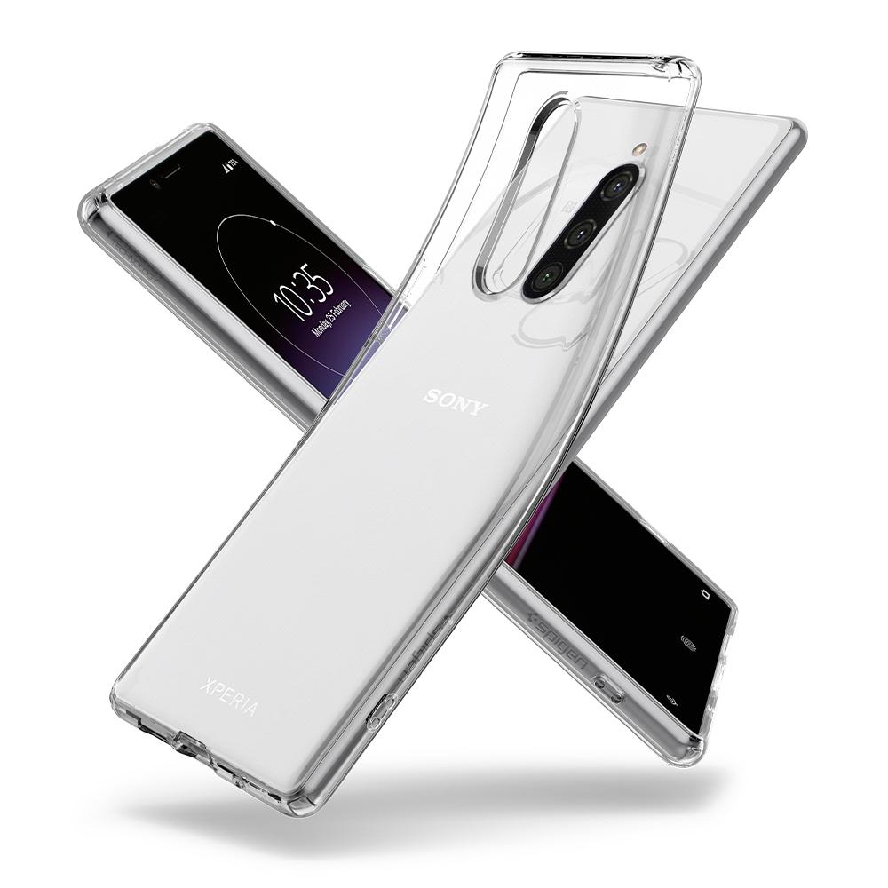 Liquid Crystal	Crystal Clear	Case	back design overlapping the front view of the	Xperia 1	device.