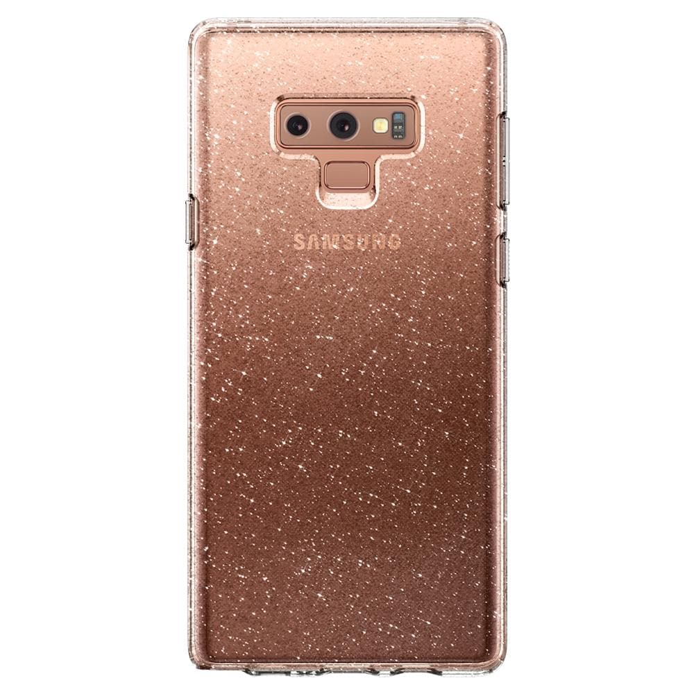Liquid Crystal Glitter	Crystal Quartz	Case	facing backwards showing the back design with the camera cutout on the	Galaxy Note 9	device.