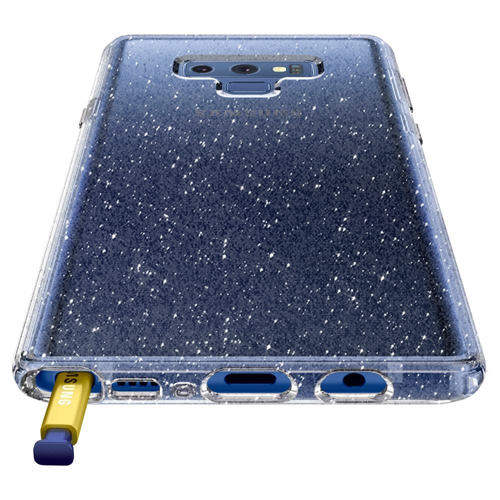 Liquid Crystal Glitter	Crystal Quartz	Case	showing the back design on the	Galaxy Note 9	device.
