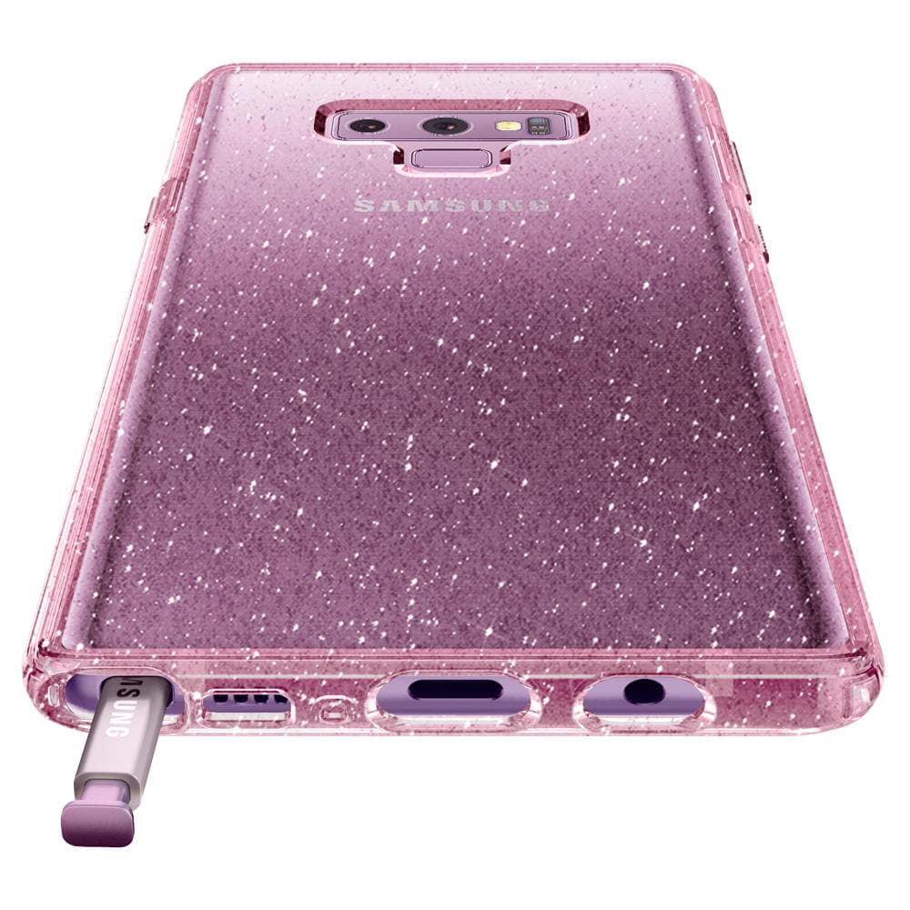 Liquid Crystal Glitter	Rose Quartz	Case	showing the back design on the	Galaxy Note 9	device.