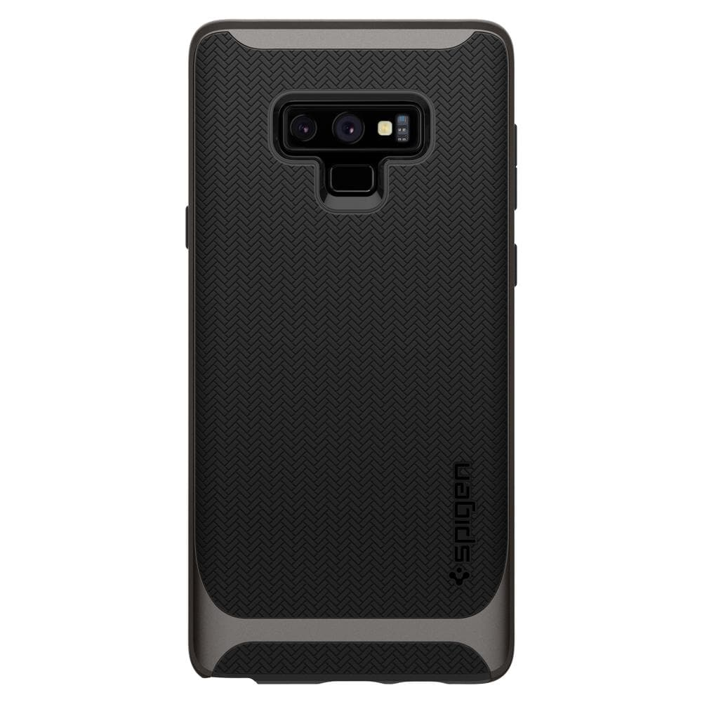 Neo Hybrid	Gunmetal	Case	facing backwards showing the back design with the camera cutout on the	Galaxy Note 9	device.