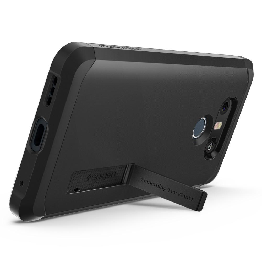Tough Armor	Black	Case	angled backwards showing the back design focusing on the kickstand feature	LG G6	device.