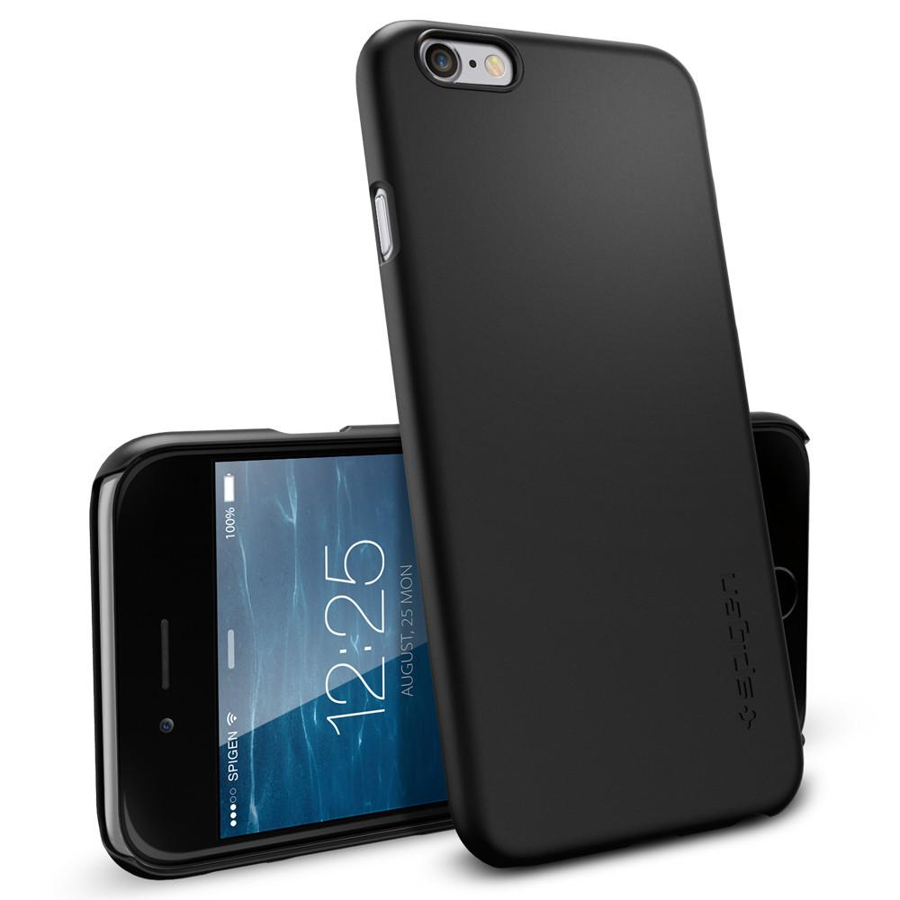 iPhone 6 Case Thin Fit in smooth black showing the back and front