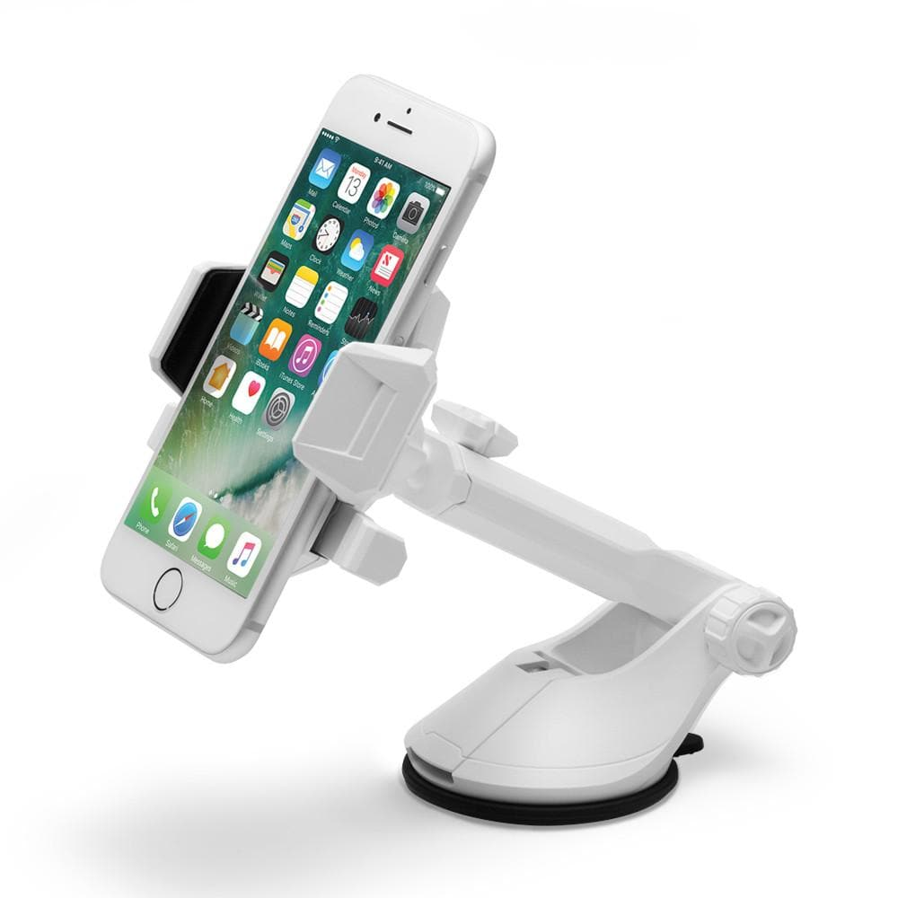 Spigen Kuel AP12T Car Mount Holder in white showing the mount with phone attached