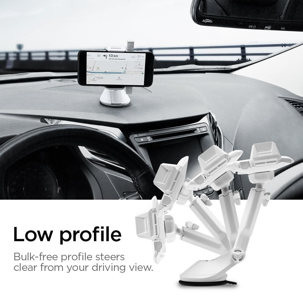 Spigen Kuel AP12T Car Mount Holder in white showing the low profile. Bulk free profile steers clear from your driving view