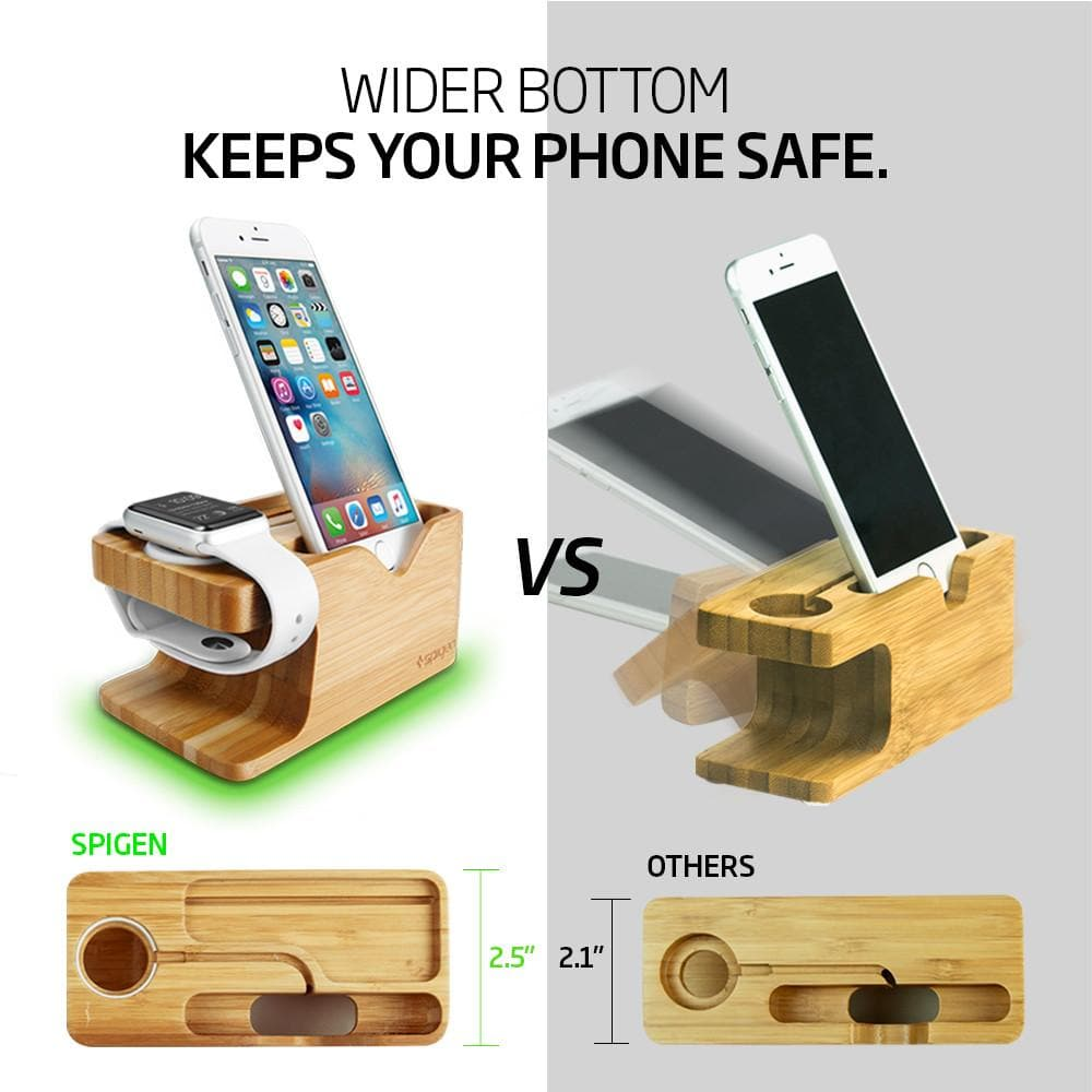 Apple Watch + Phone Stand S370 showing it has a wider bottom to keep your phone safe.