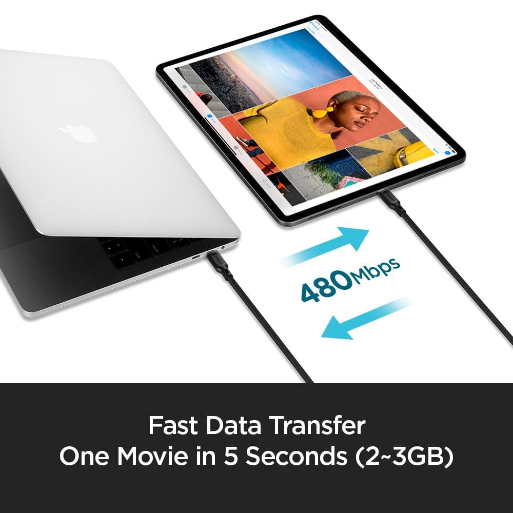 DuraSync USB-C to USB-C 2.0 showing the fast data transfer. One movie 2-3 GB movie transfers in 5 seconds. Data speed of 480 Mbps