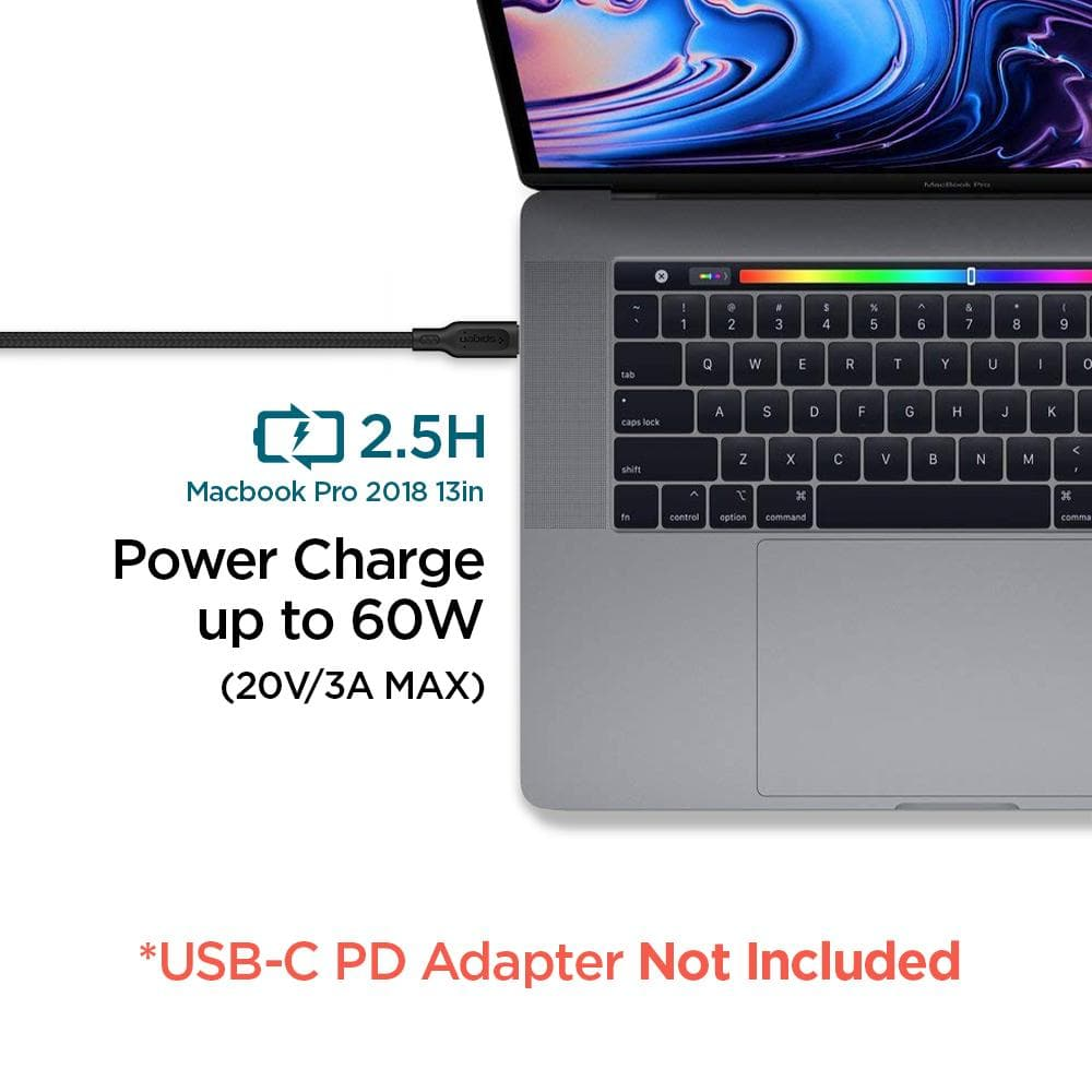 DuraSync USB-C to USB-C 2.0 showing its power charge up to 60W. USB-C PD Adapter not included.