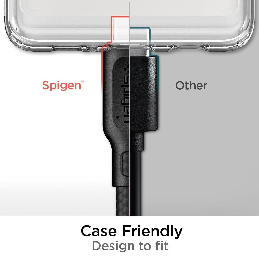 DuraSync USB-C to USB-C 2.0 showing the output is longer so that it is case friendly and designed to fit