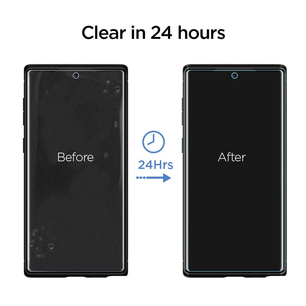 Galaxy Note 10 Screen Protector Neo Flex HD showing that the screen clears in 24 hours after applying