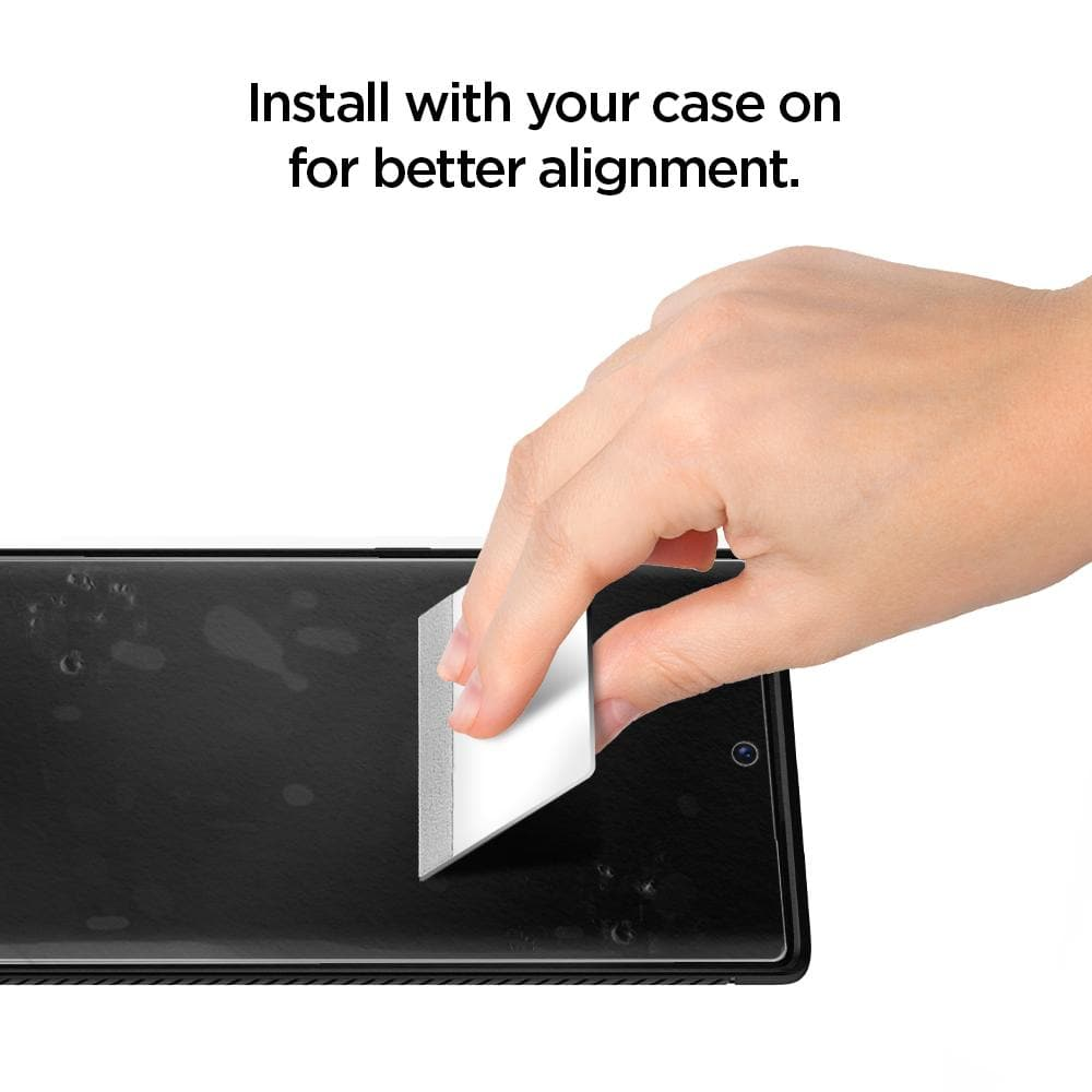 Galaxy Note 10 Screen Protector Neo Flex HD showing to install with your case on for better alignment
