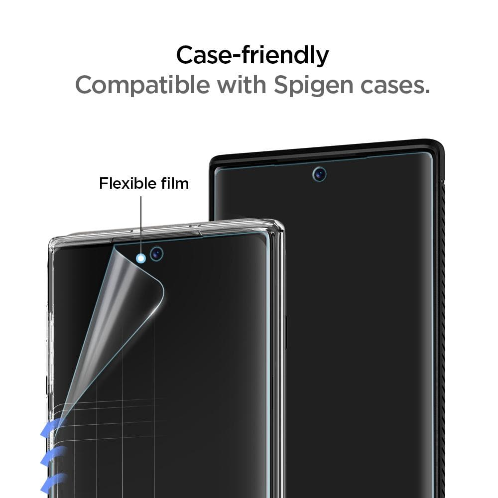 Galaxy Note 10 Screen Protector Neo Flex HD showing it is case friendly. Compatible with Spigen cases