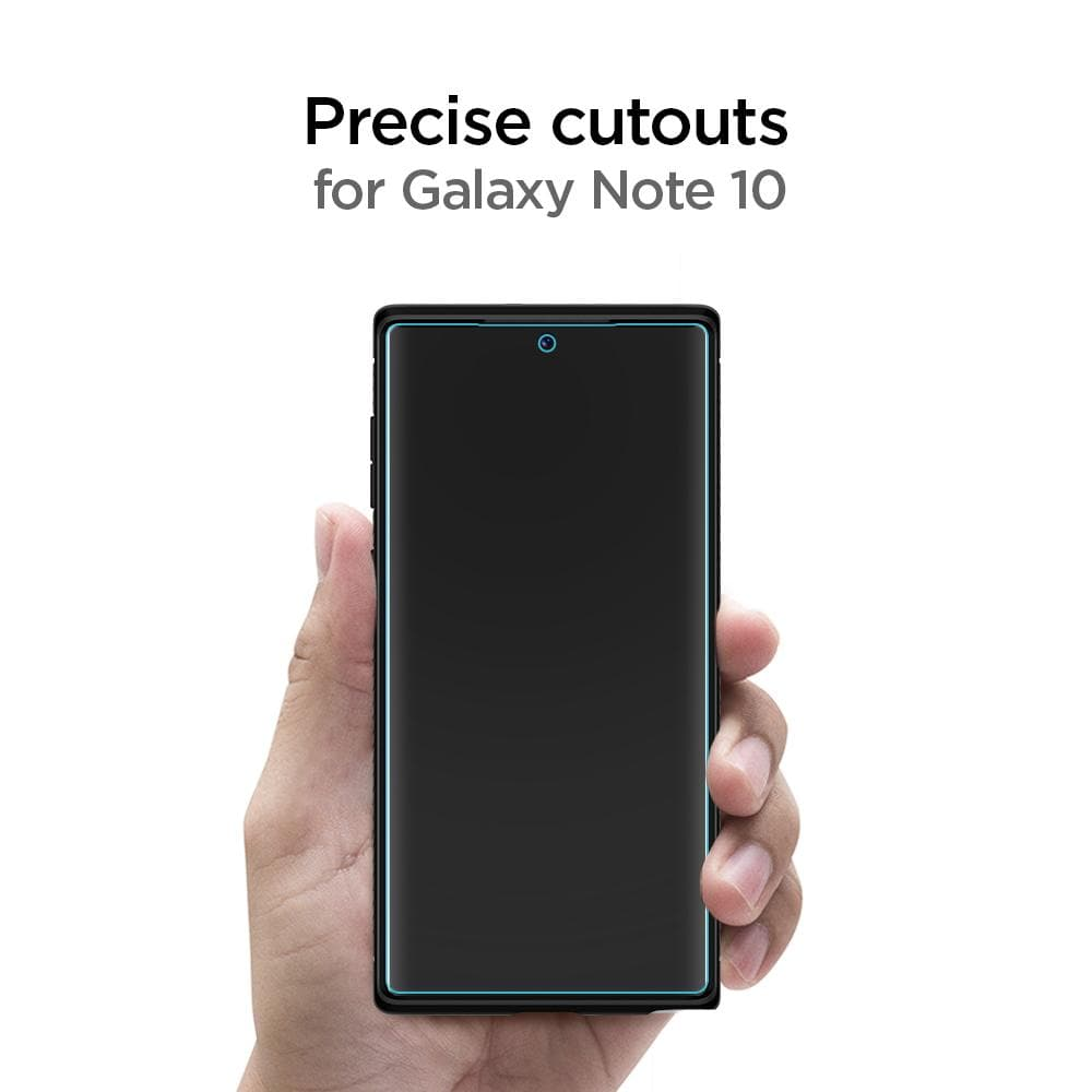 Galaxy Note 10 Screen Protector Neo Flex HD showing its precise cutouts for Galaxy Note 10