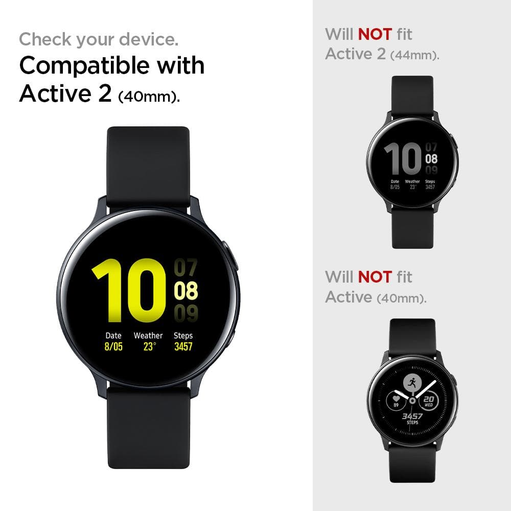 Galaxy Watch Active 2 (40mm) Screen Protector ProFlex EZ Fit showing to check your device. Compatible with Active 2 (40mm). Will not fit Active 2 (44mm) and Active (40mm).