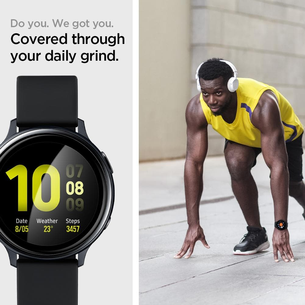 Galaxy Watch Active 2 (40mm) Screen Protector ProFlex EZ Fit showing the front. Do you. We got you. Covered through your daily grind.