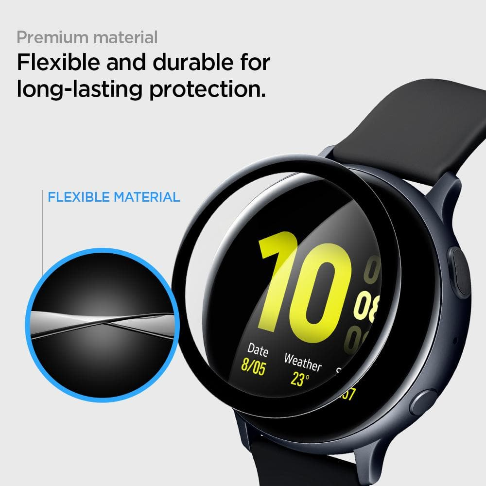 Galaxy Watch Active 2 (40mm) Screen Protector ProFlex EZ Fit showing its premium material. Flexible and durable for long-lasting protection.