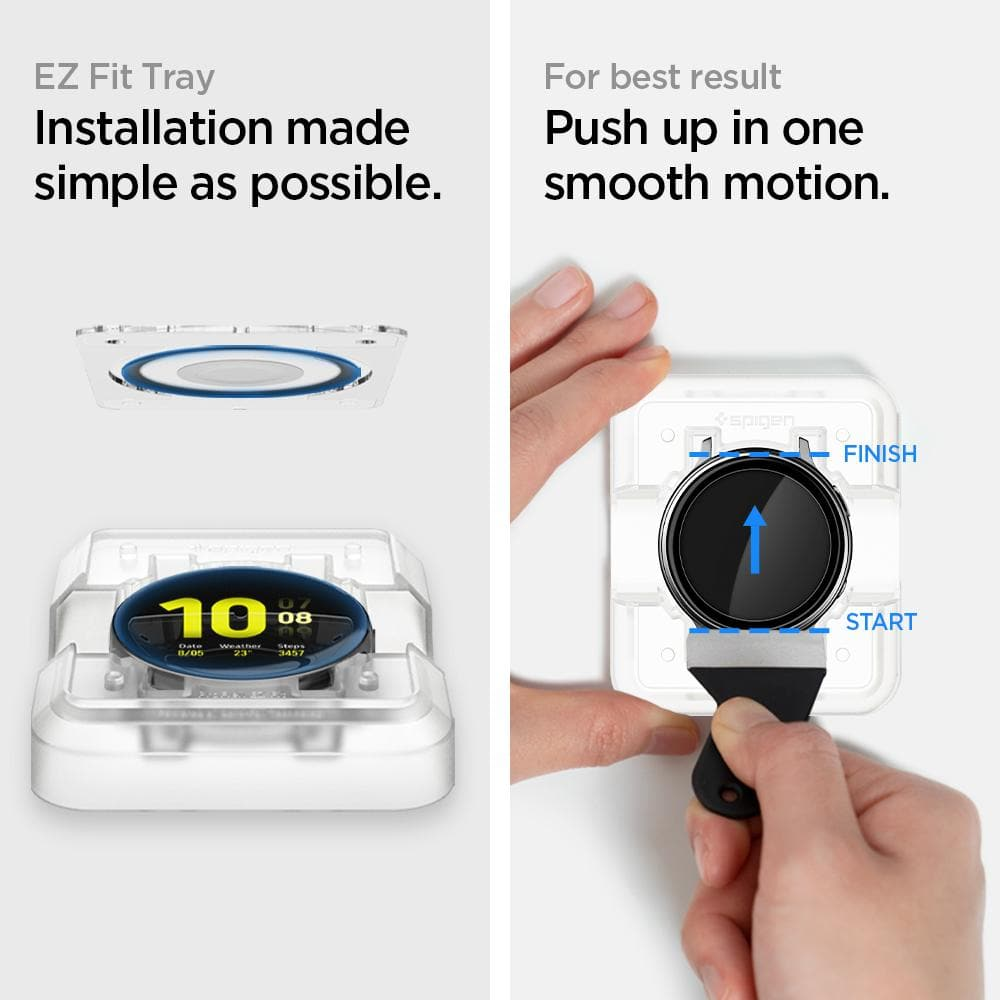 Galaxy Watch Active 2 (40mm) Screen Protector ProFlex EZ Fit showing that installation is made simple as possible with the EZ Fit Tray. For best result, push up in one smooth motion.