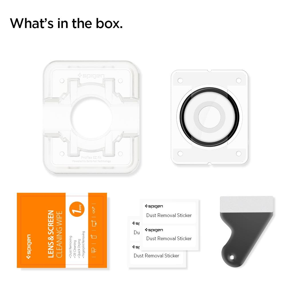 Galaxy Watch Active 2 (40mm) Screen Protector ProFlex EZ Fit showing what's in the box: EZ Fit tray, screen protector, lens & screen cleaning wipe, dust removal stickers, squeegee